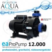 EAProPump 12000, vysoce profesionální čerpadla pro gravitační zapojení a koupací jezírka, extra nízkou spotřebou a vysokým výkonem, 11.700 litrů/hod., 2,40 m, 88 Watt, napojení na 2