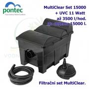 Průtoková filtrační sada Pontec MultiClear Set 15000, pro jezírka do 15000 litrů, UV-C 11 Watt, max. průtok 3500 l/h, hadice 3m
