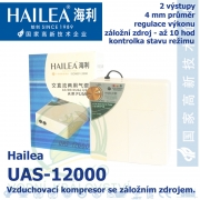 Vzduchovací kompresor se záložním zdrojem Hailea UAS-12000, 10 hod provozu, 5 l/min, 8 Watt,