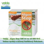 Algae Stop (Algen Stop) 500 g na 10 m3, 100% přírodní velice účinný a rychlý fosfátový a nutriční flokulant nečistot, kalů, zákalů v jezírcích a biotopech