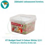 VT Budget food 3-Colour Sticks 2,5 l, celosezonní krmivo pro všechny druhy ryb