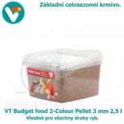 VT Budget food 2-Colour Pellet 3mm 2,5 l, celosezonní krmivo pro všechny druhy ryb