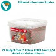 VT Budget food 2-Colour Pellet 6mm 2,5 l, celosezonní krmivo pro všechny druhy ryb