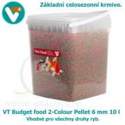 VT Budget food 2-Colour Pellet 6mm 10 l, celosezonní krmivo pro všechny druhy ryb