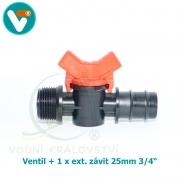 Ventil + 1 x ext. závit 25mm 3/4 Inch