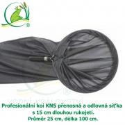 Profesionální koi KNS přenosná a odlovná síťka s 15 cm rukojetí, Ø 25 cm, délka 100 cm