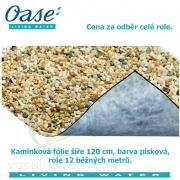 Kamínková fólie šíře 120 cm, barva písková, cena 1155 Kč za 1 běžný metr při odběru celé role 12 m