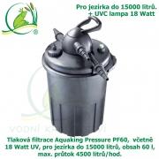 Tlaková filtrace Aquaking Pressure PF60,  včetně 18 Watt UV, pro jezírka do 15000 litrů, obsah 60 l, max. průtok 4500 litrů/hod. - Výprodej