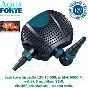 Jezírkové čerpadlo Aqua Forte O 12V-10000, průtok 10000l/h, výtlak 5 m, příkon 85W, vhodné do skimmeru Biosys