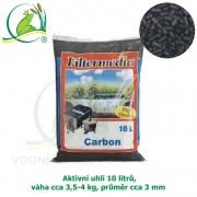 Aktivní uhlí 10 litrů, cca 3,5-4 kg, průměr cca 3 mm