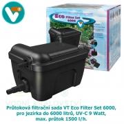 Průtoková filtrační sada VT Eco Filter Set 6000, pro jezírka do 6000 litrů, UV-C 9 Watt, max. průtok 1500 l/h, hadice