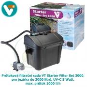 Průtoková filtrační sada VT Starter Filter Set 3000, pro jezírka do 3000 litrů, UV-C 5 Watt, max. průtok 1000 l/h, hadice