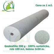 Geotextilie 300 g 100% synteticka, role 100 m2, baleno 2x50 m, cena za 1 m2