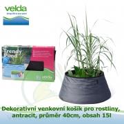 Dekorativní venkovní košík pro rostliny, antracit, průměr 40cm, obsah 15l - Velda Trendy Pond