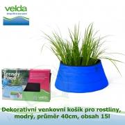 Dekorativní venkovní košík pro rostliny, modrý, průměr 40cm, obsah 15l - Velda Trendy Pond