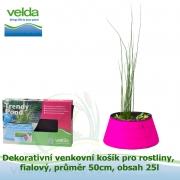 Dekorativní venkovní košík pro rostliny, fialový, průměr 50cm, obsah 25l - Velda Trendy Pond