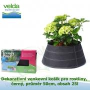 Dekorativní venkovní košík pro rostliny, černý, průměr 50cm, obsah 25l - Velda Trendy Pond