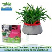 Dekorativní venkovní košík s uchy pro rostliny, šedivá-růžová, průměr 40cm, obsah 15l - Velda Colour Pond