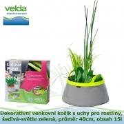 Dekorativní venkovní košík s uchy pro rostliny, šedivá-světle zelená, průměr 40cm, obsah 15l - Velda Colour Pond