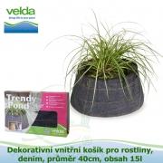 Dekorativní vnitřní košík pro rostliny, denim, průměr 40cm, obsah 15l - Velda Trendy Pond indoor denim