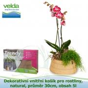 Dekorativní vnitřní košík pro rostliny, natural, průměr 30cm, obsah 5l - Velda Trendy Pond indoor denim