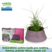 Dekorativní vnitřní košík pro rostliny, fialový, průměr 40cm, obsah 15l - Velda Trendy Pond indoor violet