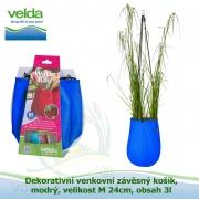 Dekorativní venkovní závěsný košík, modrý, velikost M 24cm, obsah 3l - Velda Water Bag Blue M