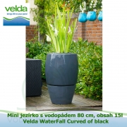Mini jezírko s vodopádem 80 cm, obsah 15l – Velda WaterFall Curved of black