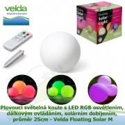 Plovoucí světelná koule s LED RGB osvětlením + dálkovým ovládáním + solárním dobíjením, průměr 25cm - Velda Floating Solar M