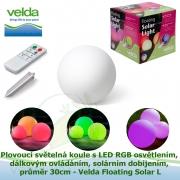 Plovoucí světelná koule s LED RGB osvětlením + dálkovým ovládáním + solárním dobíjením, průměr 30cm - Velda Floating Solar L