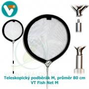 KOI Teleskopický podběrák M, průměr 80 cm, teleskop 115 až 305 cm – VT Fish Net M
