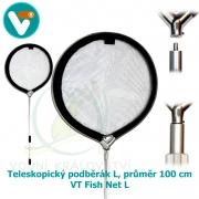 KOI Teleskopický podběrák L, průměr 100 cm, teleskop 115 až 305 cm  – VT Fish Net L