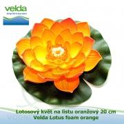 Lotosový květ na listu oranžový 20 cm - Velda Lotus foam orange