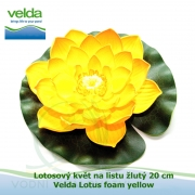 Lotosový květ na listu žlutý 20 cm - Velda Lotus foam yellow