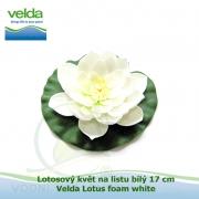 Lotosový květ na listu bílý 17 cm - Velda Lotus foam white