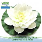 Lotosový květ na listu bílý 28 cm - Velda Lotus foam white