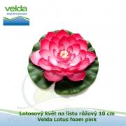 Lotosový květ na listu růžový 10 cm - Velda Lotus foam pink
