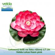 Lotosový květ na listu růžový 17 cm - Velda Lotus foam pink