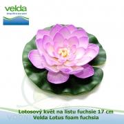 Lotosový květ na listu fuchsie 17 cm - Velda Lotus foam fuchsia