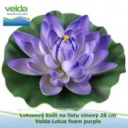 Lotosový květ na listu vínový 28 cm - Velda Lotus foam purple