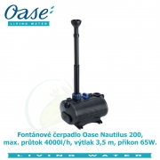 Fontánové čerpadlo Oase Nautilus 200, max. průtok 4000l/h, výtlak 3,5 m, příkon 65W, - Výprodej nového zboží, poškozená krabice.