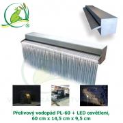 Přelivový nerez vodopád PL-60 + LED osvětlení, 60x14,5x9,5cm, doporučené čerpadlo 3000 l/hod.