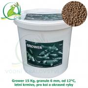Grower 15 Kg, granule 6 mm, od 12°C, letní krmivo, pro koi a okrasné ryby