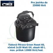 Tlaková filtrace Green Reset 60, včetně 2x20 Watt UV, pro jezírka do 25000 litrů, obsah 60 l, max. průtok 12000 litrů/hod.