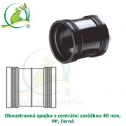Oboustranná spojka s centrální zarážkou 40 mm, PP, černá