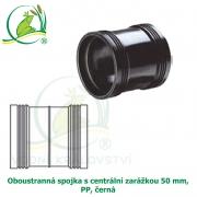 Oboustranná spojka s centrální zarážkou 50 mm, PP, černá