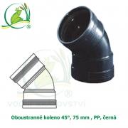 Oboustranné koleno 45°, 75 mm , PP, černá