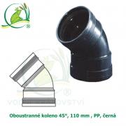 Oboustranné koleno 45°, 110 mm , PP, černá