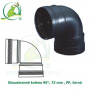 Oboustranné koleno 90°, 75 mm , PP, černá