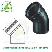 Jednostranné koleno 45°, 110 mm , PP, černá